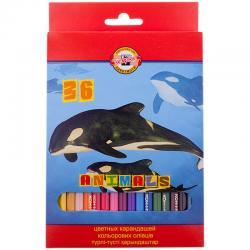 Цветные карандаши KOH-I-NOOR ANIMALS 36 цв.