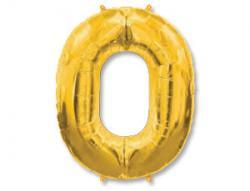 Шар фольга цифра 0, золото,102см