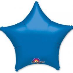 Звезда синяя -шар из фольги 45см с гелием