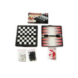 Настольная игра 3 в 1: шашки, шахматы, нарды + поле 13*13 см