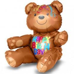 Шар фольга фигура С днем рождения, Медвежонок сидячий