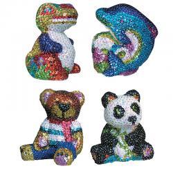 3D МОЗАИКА ИЗ БЛЕСТОК 4 дизайна (мишка, панда, дельфин, динозавр)