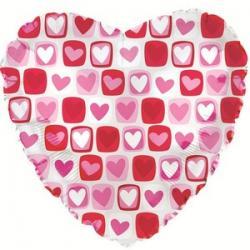 Шар фольга Сердце, Сердечки с квадратиками 45 см
