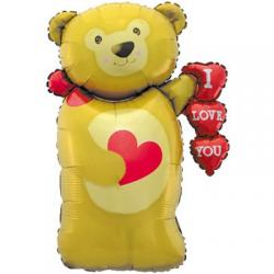 Шар фольга фигура Мишка с сердцем 100см