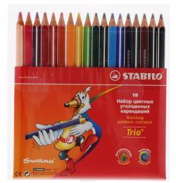 Цветные карандаши STABILO трёхгран.18 цв.