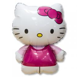 Шар фольга фигура Hello Kitty розовая