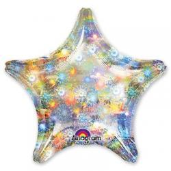 Звезда серебро голограмма -шар 45см с гелием
