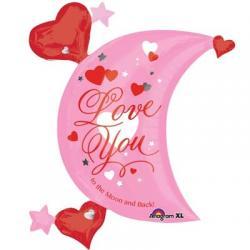 Шар фольга фигура месяц Лунная любовь, 68 см х 81 см