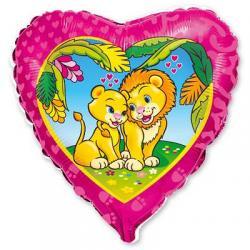 Шар фольга фигура Влюбленные львы 45 см