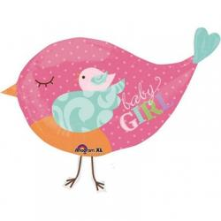 Шар фольга фигура Птичка розовая