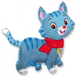 Шар фольга фигура Кошечка с шарфом голубая