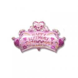 Шар фольга фигура Корона Принцессы розовая