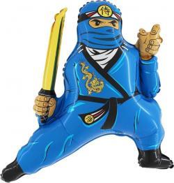 Шар фольга фигура Ниндзя, синий