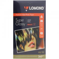 Бумага А5 (210*148) для стр. принтеров Lomond, 260г/м2 (20л.) супергл.
