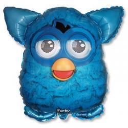 Шар фольга фигура Фёрби голубой