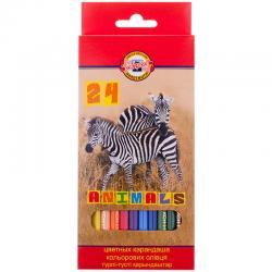 Цветные карандаши KOH-I-NOOR ANIMALS 24 цв.