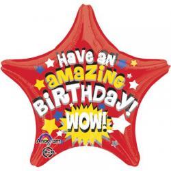 Звезда с рисунком на день рождения красная -шар 48см  с гелием